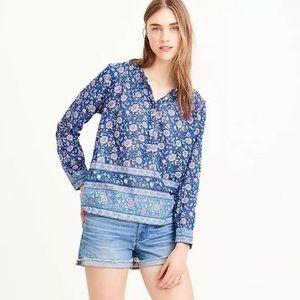 J. Crew Voile Cotton Popover Blue Floral Top Sz 8